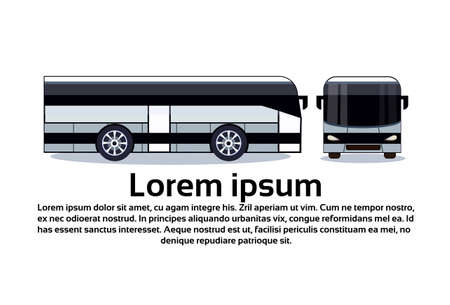 Modern White Bus For Tourist Travel Or City Transport Side And Front View Isolated Flat Vector Illustration