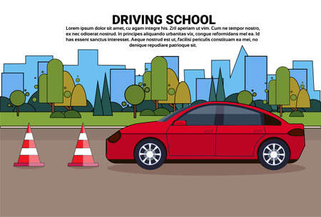 Driving School Banner, Vehicle On Road, Auto Drive Education Practice Exam Concept Flat Vector Illustration
