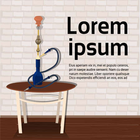 Hookah on table over background with copy space Arab tobacco smoke concept vector illustration.