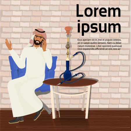 Arab man smoking hookah sitting at table over background with copy space vector illustration.