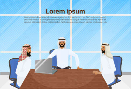 Meeting Of Arab Business Men, Group Of Muslim Businessman Sitting At Office Desk Communication And Partnership Concept Vector Illustration Vectores