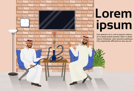 Two Arab Men Smoking Hookah Sitting At Table In Shisha Lounge Over Background With Copy Space Vector Illustration