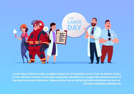 Happy 1st of May, Labor day poster group of people of different occupations on background flat vector illustration.
