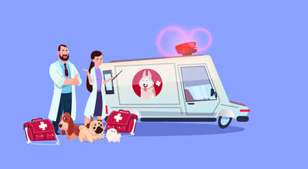 Veterinarian doctors standing at ambulance car veterinary medicine concept flat vector illustration. Иллюстрация