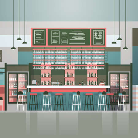 Empty bar or coffee shop interior cafe counter with bottles of alcohol and glasses on shelves flat vector illustration.