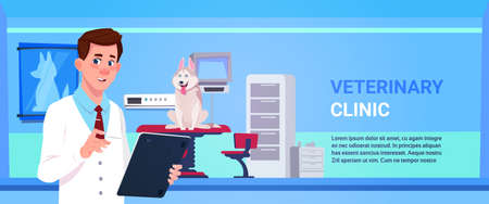 Veterinarian Doctor Examining Dog In Clinic Office Veterinary Medicine And Animal Care Concept Flat Vector Illustration Vectores