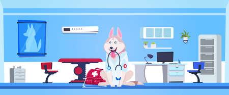 Dog Wearing White Coat And Holding Stethoscope In Vet Clinic Office Interior Flat Vector Illustration Ilustracja