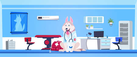 Dog Wearing White Coat And Holding Stethoscope In Vet Clinic Office Interior Flat Vector Illustration Vectores