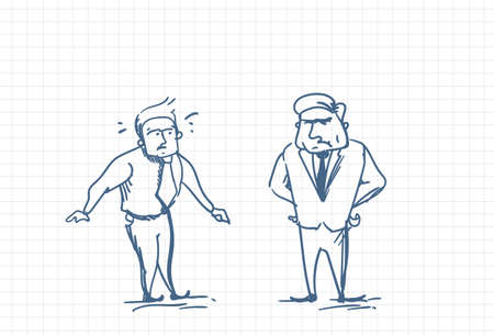 Scared Man Talking With Angry Boss illustration