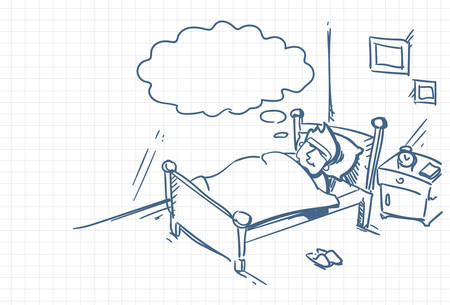 Sketch Man Sleeping Dream In Bed Doodle Over Squared Background Vector Illustration Иллюстрация