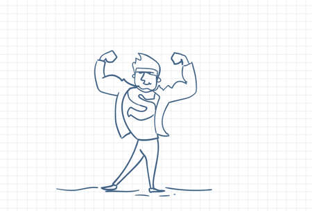 Strong Business Man Hero Sketch Over Squared Paper Background Vector Illustration