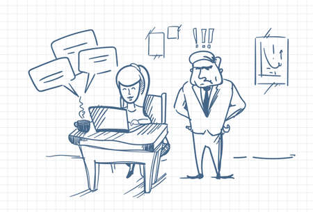 Doodle Angry Business Man Boss Standing At Woman Chatting Online Using Laptop Computer At Office Workplace Vector Illustration Illustration