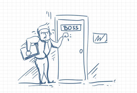 Scared Business Man Knocking Boss Door Afraid Of Blame Doodle Vector Illustration
