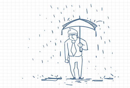 Upset Business Man Wet Under Rain With Umbrella Doodle Over Squared Paper Background Vector Illustration