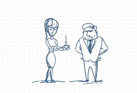 Woman Secretary Bringing Coffee To Angry Boss Doodle Vector Illustration