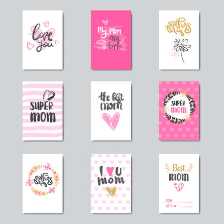 Set of Mother's Day Greeting Cards With Beautiful Hand Drawn Lettering Vector Illustration Ilustração