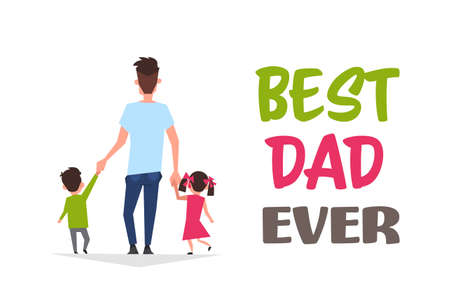 Feliz día del padre vacaciones familiares hija e hijo sostienen la mano de papá retroceden tarjeta de felicitación ilustración vectorial plana