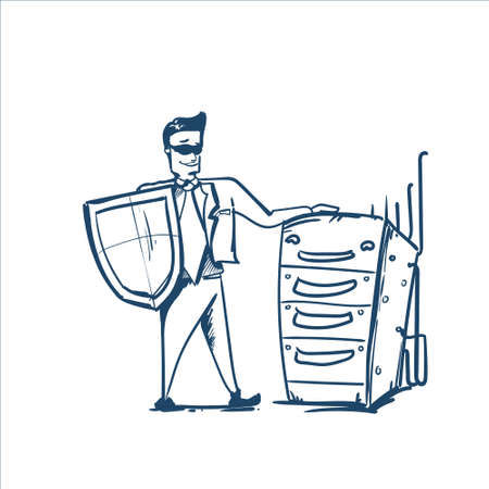 man in business suit shield standing near raw of servers General Data Protection Regulation GDPR server secuirity guard hand drawing Illustration