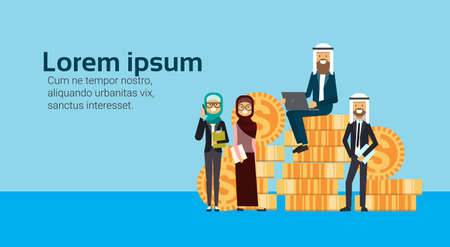 arabic businessman sit with laptop on money stack with business team, successful arab business group accumulation of wealth growing financial success teamwork concept copy space flat vector illustration Illustration