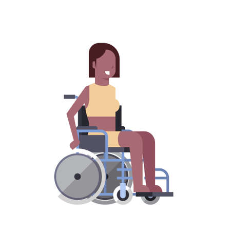 woman sit on wheelchair on white background disabled person concept flat style vector illustration Illustration