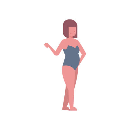 bikini woman point hand grey swimsuit on white background body shape concept flat style vector illustration
