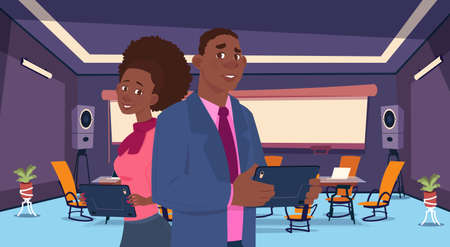 two african business person stand back chat communication, businesspeople discussing communication social network flat vector illustration