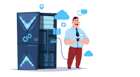 Data storage cloud center with hosting servers and staff. Computer technology, network and database, internet center, communication support, flat design vector illustration Illustration