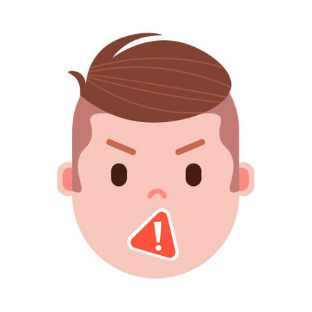 boy head emoji with facial emotions, avatar character, man censorship face with different male emotions concept. flat design. vector illustration
