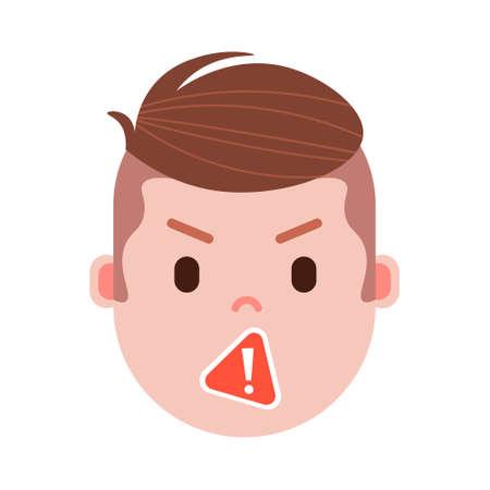 emoji tête de garçon avec des émotions faciales, personnage avatar, visage de censure homme avec concept d'émotions masculines différentes. design plat. illustration vectorielle