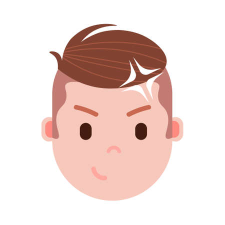 boy head emoji personage icon with facial emotions, avatar character, man idea face with different male emotions concept. flat design. vector illustration