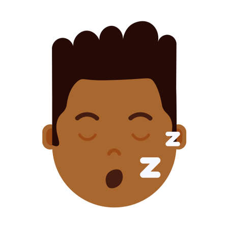 african boy head with facial emotions, avatar character, man sleep face with different male emotions concept. flat design. vector illustration