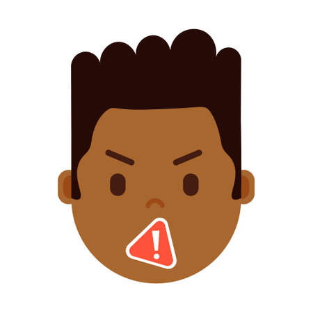 african boy head emoji with facial emotions, avatar character, man censorship face with different male emotions concept. flat design. vector illustration Illustration