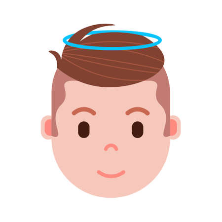 boy head emoji with facial emotions, avatar character, man nimbus face with different male emotions concept. flat design. vector illustration