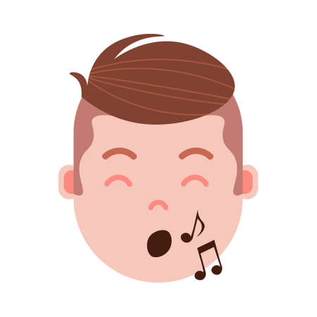boy head emoji personage icon with facial emotions, avatar character, man show singing face with different male emotions concept. flat design. vector illustration Banque d'images - 102434054
