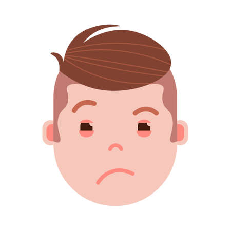 boy head emoji with facial emotions, avatar character, man grieved face with different emotions concept. flat design. vector illustration