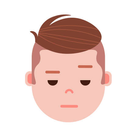 boy head emoji with facial emotions, avatar character, man sorrowful face with different male emotions concept. flat design. vector illustration