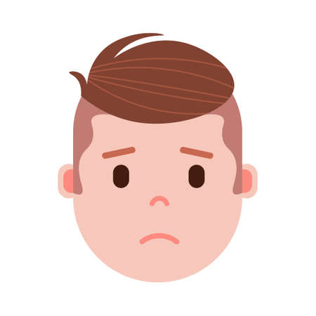 boy head emoji with facial emotions, avatar character, man grieved face with different male emotions concept. flat design. vector illustration