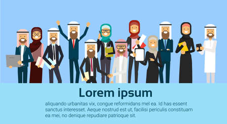 group of cheerful arabic business people happy hold raised hands muslim workers team success concept banner with copy space flat vector illustration Illustration