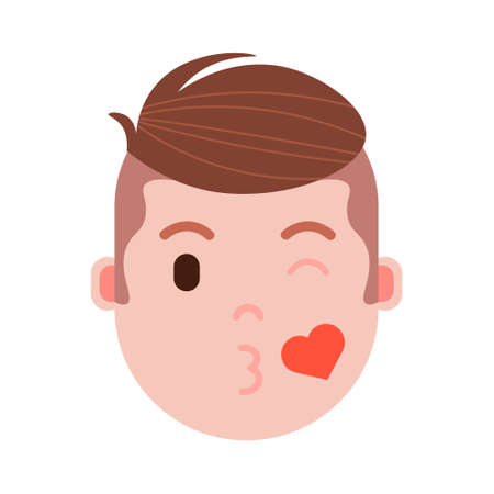 boy head emoji personage icon with facial emotions, avatar character, man love face with different male emotions concept. flat design. vector illustration