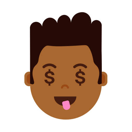 african boy head emoji personage icon with facial emotions, avatar character, man dollar face with different male emotions concept. flat design. vector illustration
