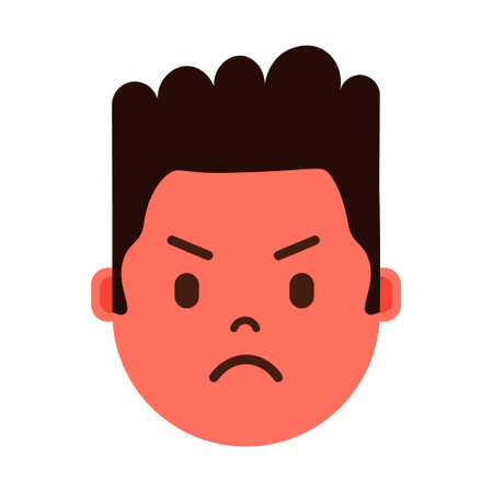 african boy head emoji personage icon with facial emotions, avatar character, man angry face with different male emotions concept. flat design. vector illustration