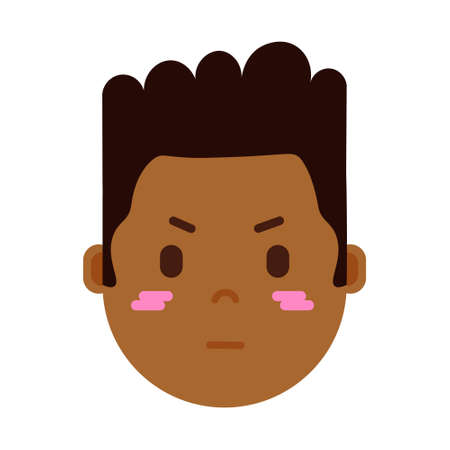 african boy head emoji personage icon with facial emotions, avatar character, man embarrass face with different male emotions concept. flat design. vector illustration