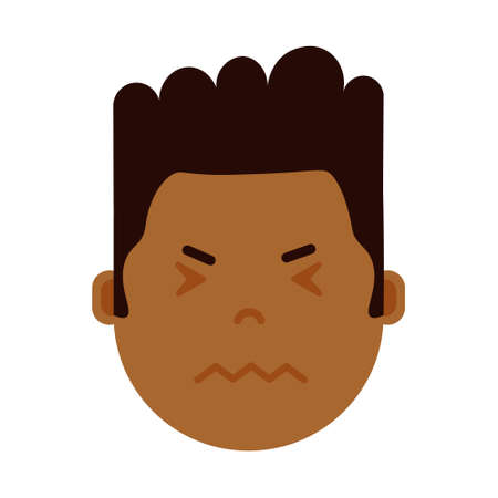 african boy head emoji personage icon with facial emotions, avatar character, man nervous face with different male emotions concept. flat design. vector illustration