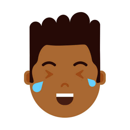 african boy head emoji personage icon with facial emotions, avatar character, man crying face with different male emotions concept. flat design. vector illustration