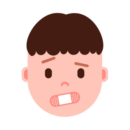 boy head emoji with facial emotions, avatar character, man shut up face with different male emotions concept. flat design. vector illustration