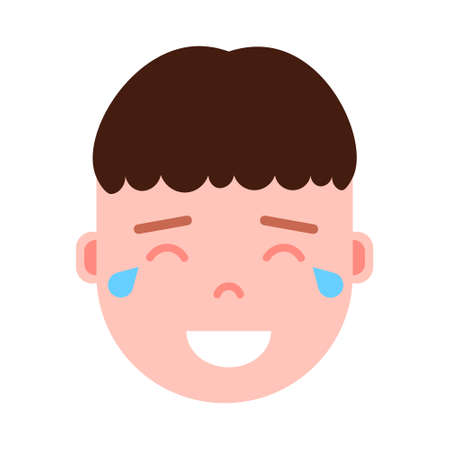 boy head emoji personage icon with facial emotions, avatar character, man happy crying face with different male emotions concept. flat design.