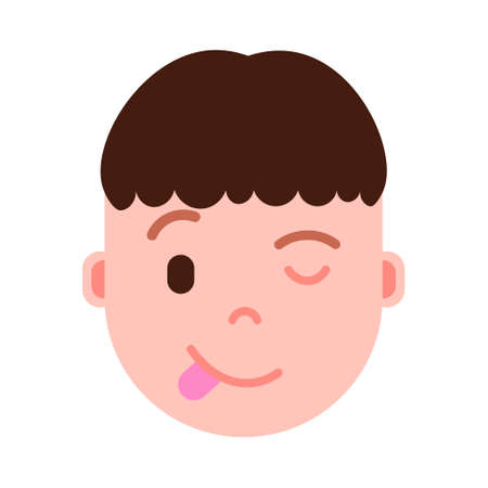 boy head emoji personage icon with facial emotions, avatar character, man show tongue face with different male emotions concept. flat design. vector illustration 矢量图像