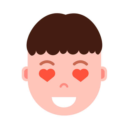 boy head emoji personage icon with facial emotions, avatar character, man heart in eyes face with different male emotions concept. flat design. vector illustration Иллюстрация