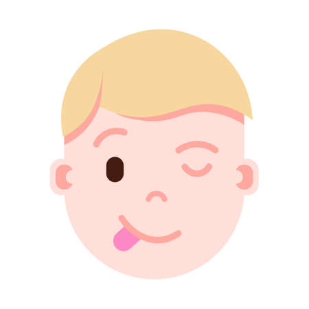 boy head emoji personage icon with facial emotions, avatar character, man show tongue face with different male emotions concept. flat design. vector illustration  イラスト・ベクター素材