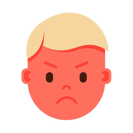 boy head emoji personage icon with facial emotions, avatar character, man angry face with different male emotions concept. flat design. vector illustration